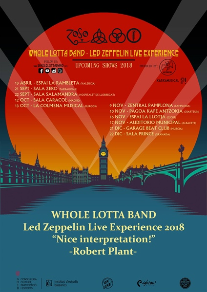 Whole Lotta Band Led Zeppelin experience en San Sebastián ( Pagoa Kafe Antzokia )